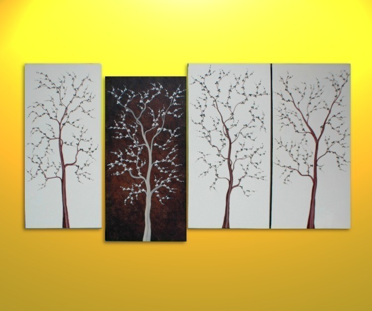 Incroyable Large Tree Painting For Sale Four Canvases Modern Abstract Art Brown And  White Original Zen Wall