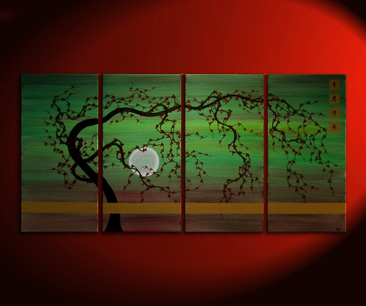 Large Tree Painting Green Abstract Plum Blossom Art Modern Original Painting Burgundy Flowers Zen Asian Kanji Huge Custom 60x30