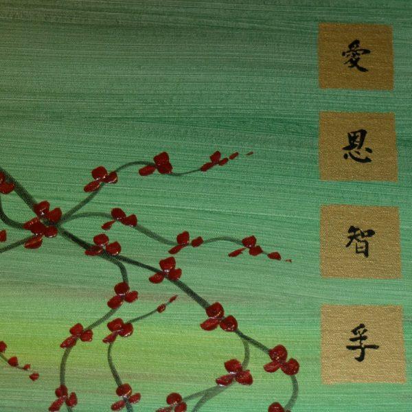 Large Tree Painting Green Abstract Plum Blossom Art Modern Original Painting Burgundy Flowers Zen Asian Kanji Huge Custom 60x30