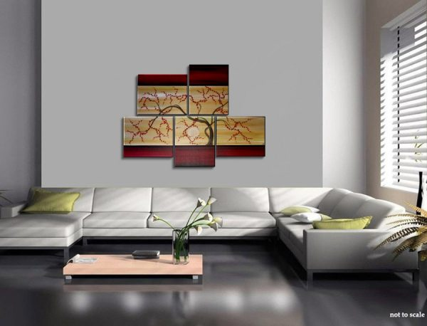 Large Tree Painting Red and Gold Zen Contemporary Abstract Asian Fusion Plum Blossom Art Custom 56x40