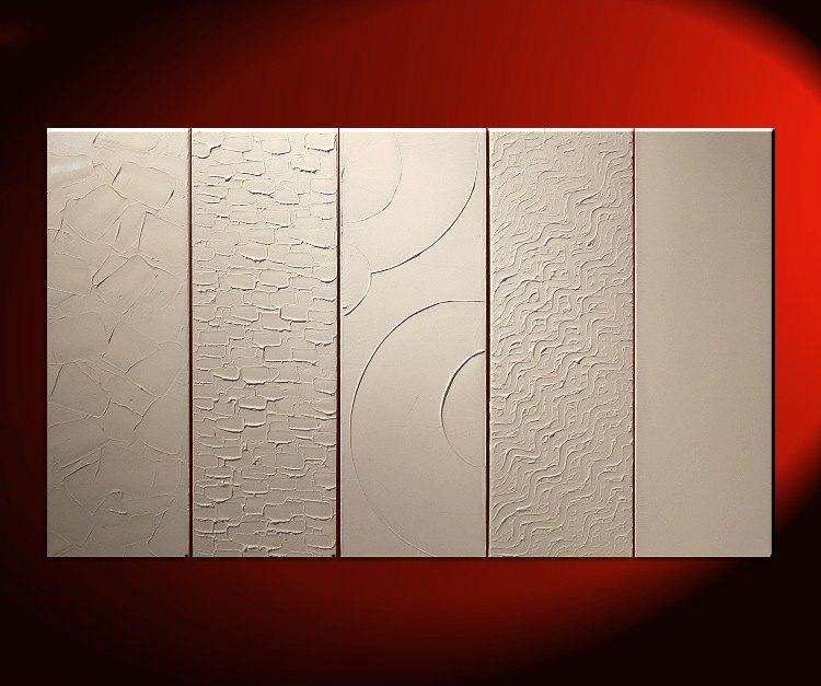 Large White Painting Abstract Textured Art Urban Original Impasto