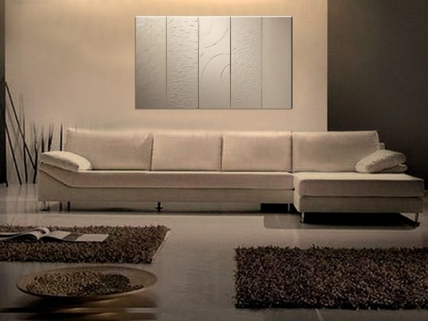 Large White Painting Abstract Textured Art Urban Original Impasto Painting Five Stretched Canvases Stylish Design 40x24 Custom
