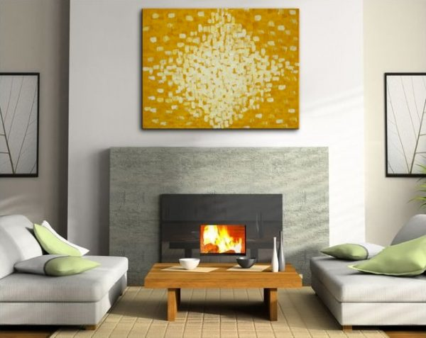 Large Yellow Abstract Painting HUGE Impasto Painting Modern Abstract Art White Sunshine Burst of Joy Uplifting Large Art 48x36 Custom