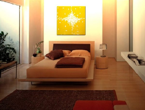 Large Yellow Abstract Painting Original Knife Art Yellow Contemporary Uplifting Art 30x30 Mails Quickly