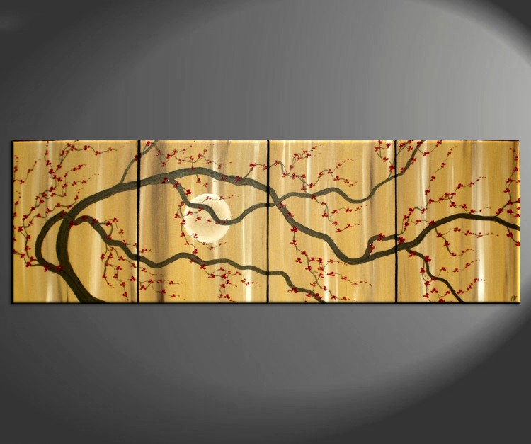 Large Zen Plum Blossom Painting Soft Caramel Neutral Colors Japanese Asian Zen Original Art Custom 64x20