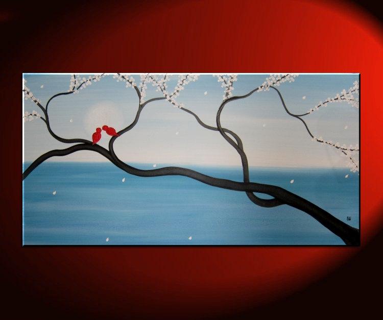 light blue love bird painting large seascape and cherry blossom art