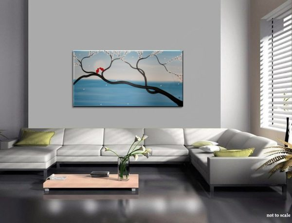 Light Blue Love Bird Painting Large Seascape and Cherry Blossom Art Huge Original Art Ocean and Moon 48x24