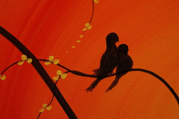 Love Bird Art Orange Painting Cherry Blossom Tree Cream Flowers Asian Style Art Japanese Delicate Branches Custom 47x41