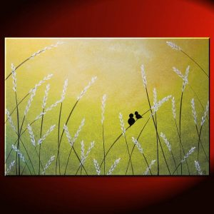 Love Bird Painting Large Lime Green and Yellow Pussy Willow Art Contemporary Abstract Textured Painting 36x24 Custom