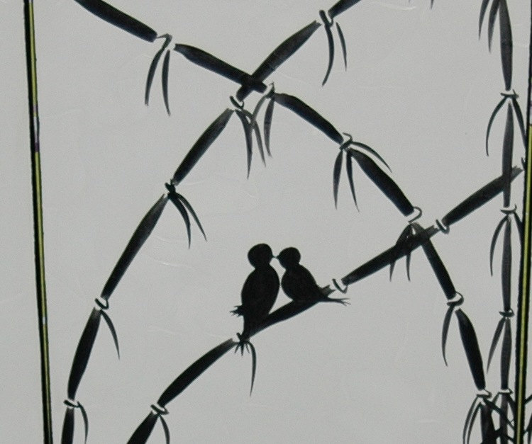 Love Bird Painting Original Bamboo Art Monochrome Black and White Textured Palette Knife 48x20