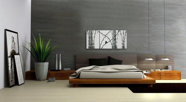Love Bird Painting Original Bamboo Art Monochrome Black and White Textured Palette Knife 48x20