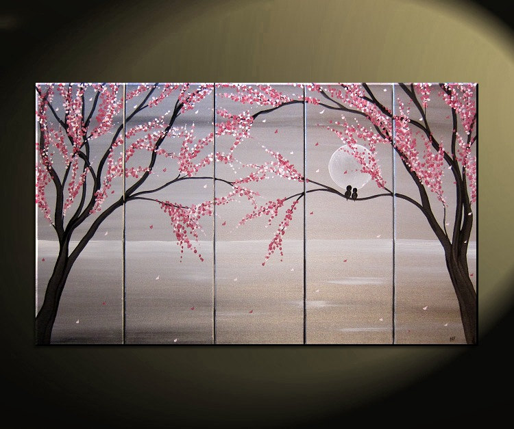 Love Birds Painting Large Seascape White And Black Art Silver Chinese Zen Style Original Pink Blossoms