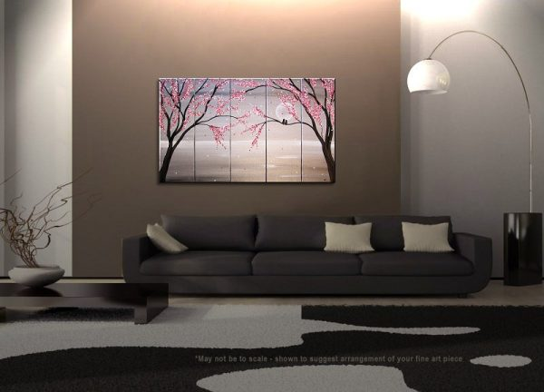 Love Birds Painting Large Seascape White and Black Art Silver Chinese Zen Style Original Pink Blossoms 40x24 Five Canvases Custom