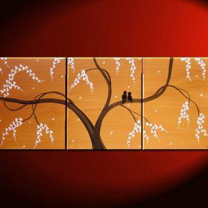 Love Birds Painting Ochre Beige Art Tree Painting Abstract Textured Art 48x20 Triptych CUSTOM