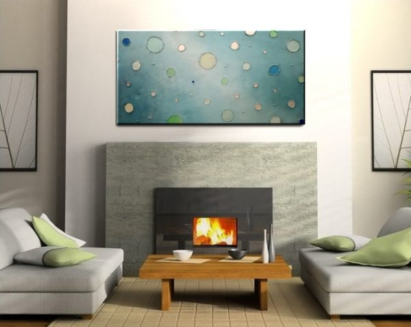 Luxurious Gift for Her Turquoise Painting Abstract Textured Home Decor Wall Art 48x24 Watch Video with Texture Detail