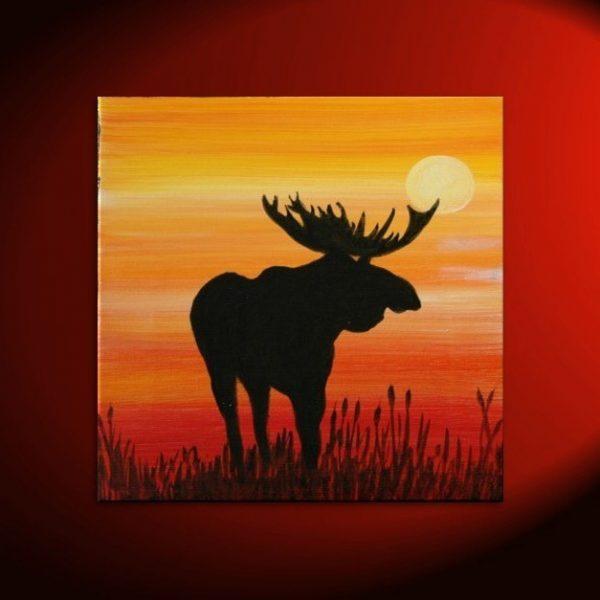 Male Moose Silhouette Painting Original Sunset Cattails Bullrushes Pond Swamp Animal Orange Yellow Art Custom 30x30