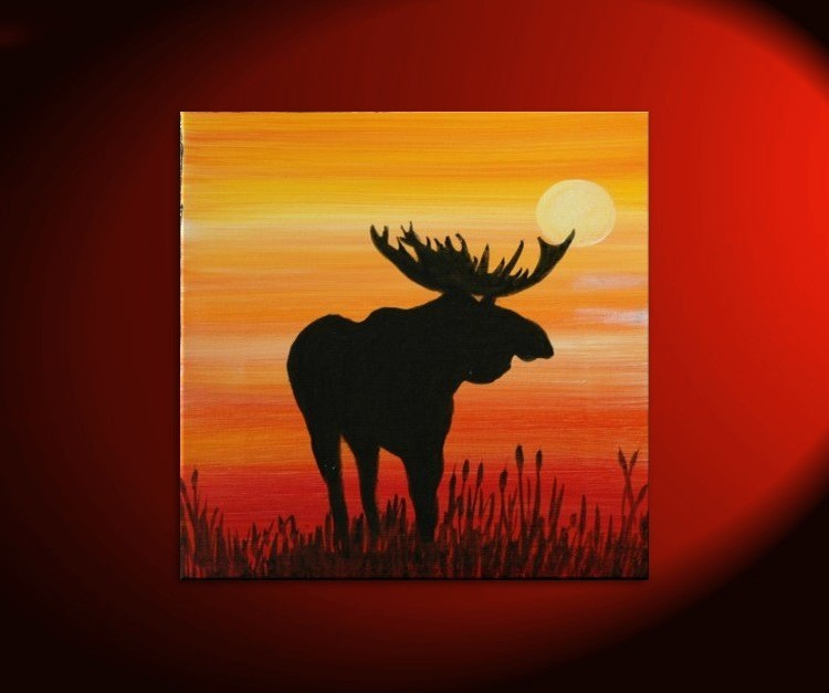 Male Moose Silhouette Painting Original Sunset Cattails Bullrushes Pond Swamp Animal Orange Yellow Art Custom 30x30