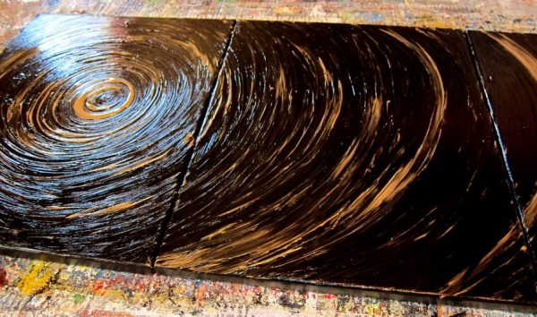Modern Abstract Painting Black Abstract Art Textured Painting Hints of Gold Original Impasto Art Triptych Painting 48x20 Custom