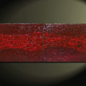 Modern Abstract Textured Painting Crimson Red Burgundy Original Palette Knife Art Impasto Different Sizes Available Custom 32x16