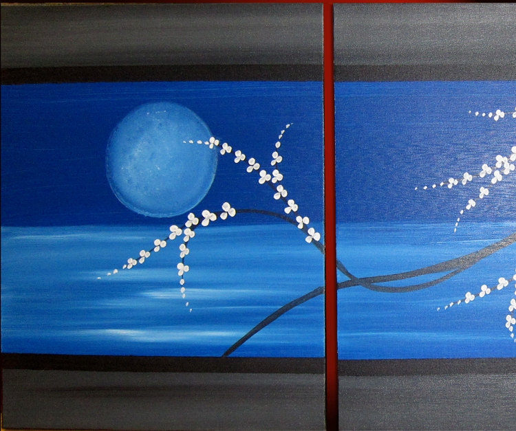 Moon Seascape Cherry Blossom Painting Triptych Ready to Ship 48x20 Original Painting Unique Art