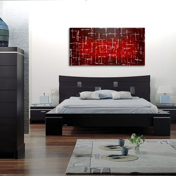 Office Art Large Red Burgundy Modern Abstract Painting Original Textured Art HUGE Urban Art Big Custom Version 72x36