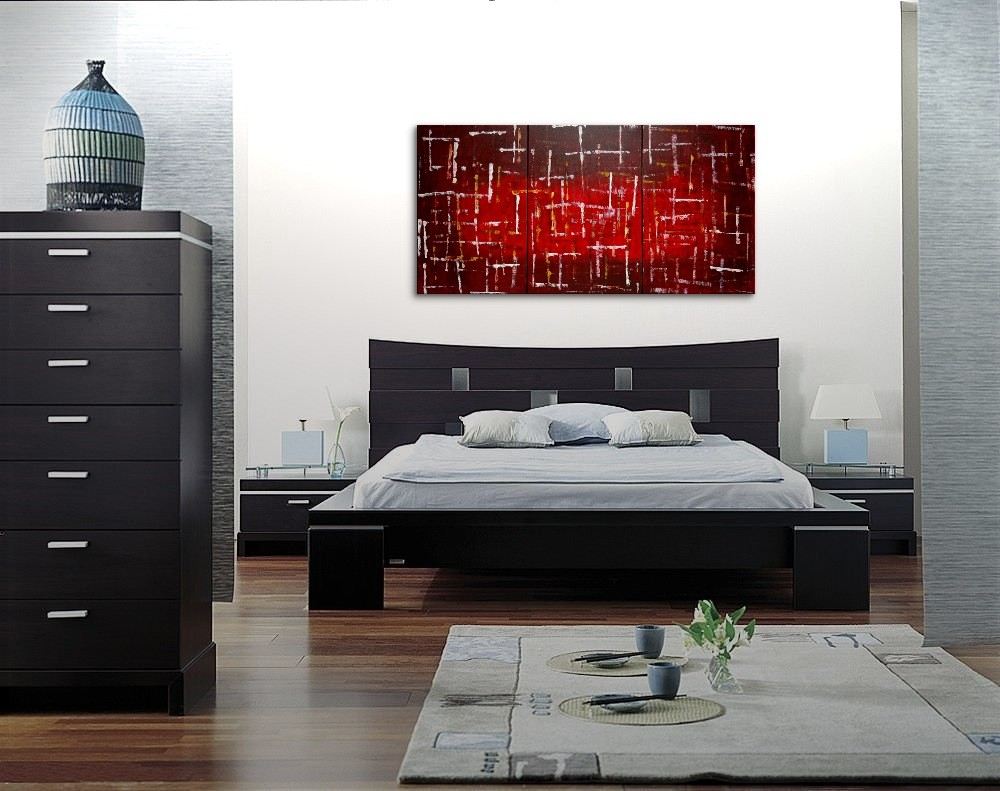 Office Art Large Red Burgundy Modern Abstract Painting