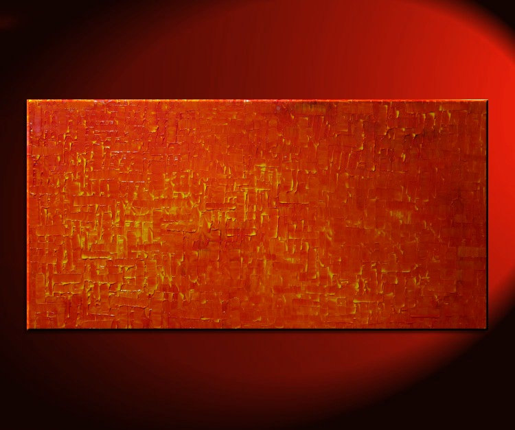 Orange Abstract Painting Large Textured Modern Yellow Accents Original Palette Knife Art Fire and Life Autumn 48x24 Custom