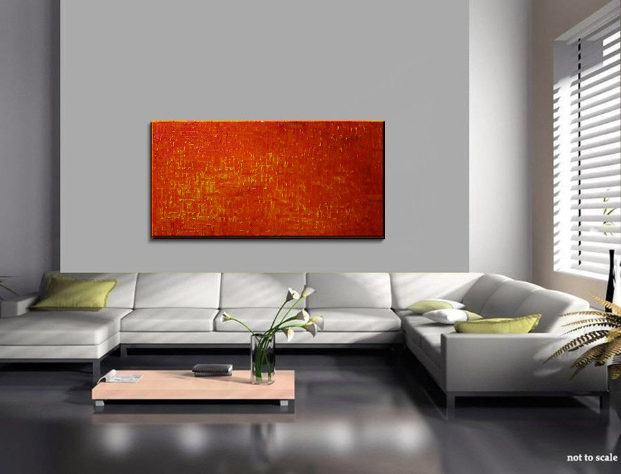 Orange Abstract Painting Large Textured Modern Yellow