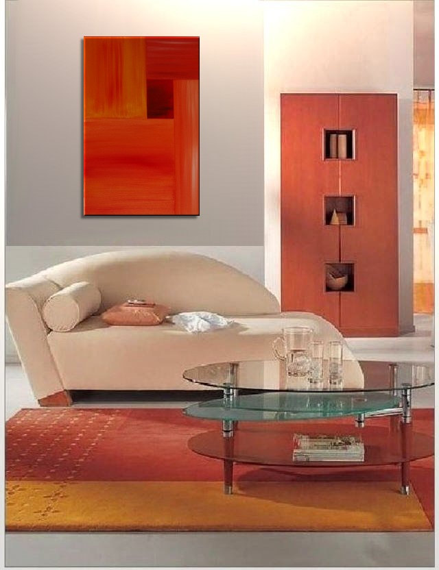 Orange Modern Abstract Painting Red Accent Color Urban Original Art on Stretched Canvas Warm Colors Ships Fast 24x36