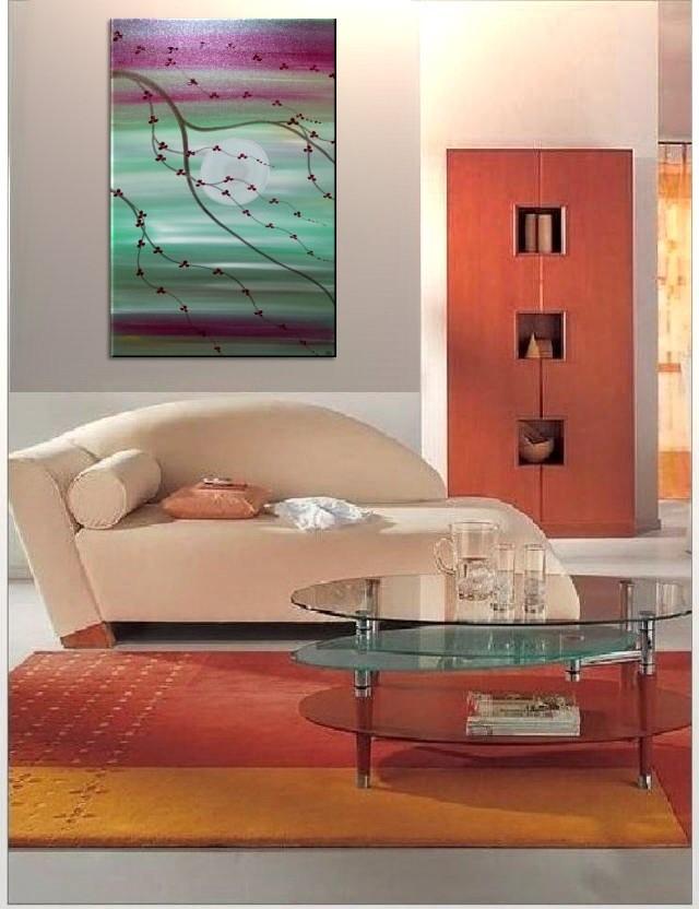 Original Cherry Blossom Painting Zen Chinese Tree Peaceful Art Soft Greens Burgundy Sunset Custom 24x36