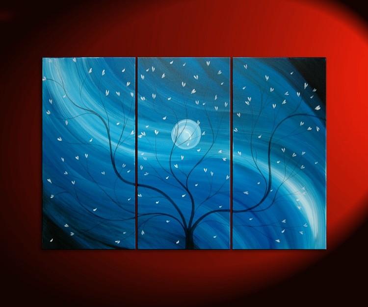 Original Cherry Blossom Triptych Painting Blue Tree Branch Wall Art Asian Zen Style Custom Decor Midnight Mysterious 45x30