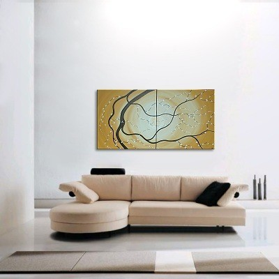 Original Japanese Cherry Blossom Painting Large Abstract Art Ochre with White Blossoms Custom Huge 60x30
