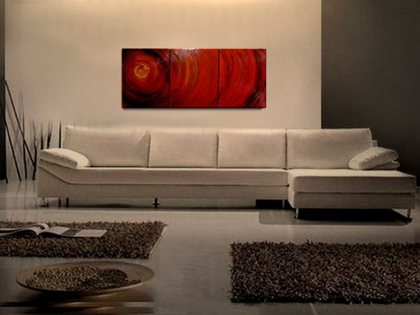 Original Modern Abstract Art Red Textured Painting Crimson Burgundy Impasto Art Triptych Painting 48x20 Ships Fast