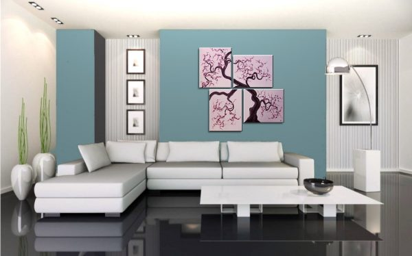 Original Painting Cherry Blossoms Wall Art Pink and Purple Flowers Tree Branch Four Panels Unique Multiple Canvases Ready to Ship 47x41