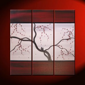 Original Painting Love Bird Art Deep Burgundy Red and Grey Cherry Blossoms Acrylic on Stretched Canvas 36x36 Triptych Custom