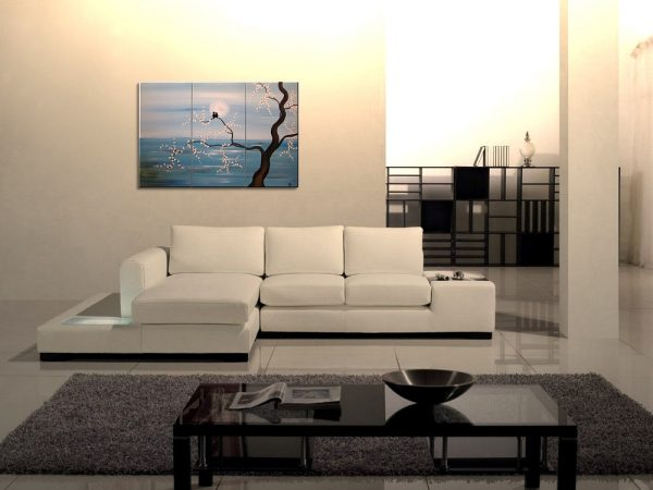 Original Painting Love Bird Art Light Blue Turquoise Cherry Blossoms Tree Acrylic on Stretched Canvas Ships Immediately 45x30