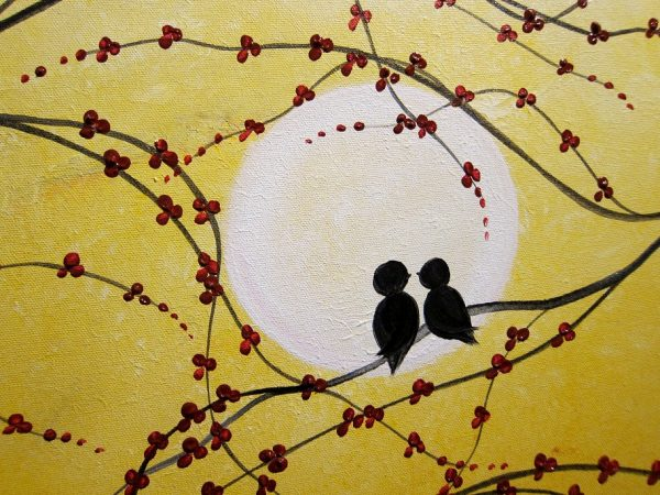 Original Painting Love Bird Art Yellow Burnt Orange and Cherry Blossoms Acrylic on Stretched Canvas Ships Immediately 45x30