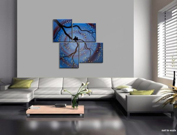 Original Painting Love Bird Wall Art Deep Blue Purple Cherry Tree Branch with Blossoms Unique Multiple Canvases Large 47x41 custom