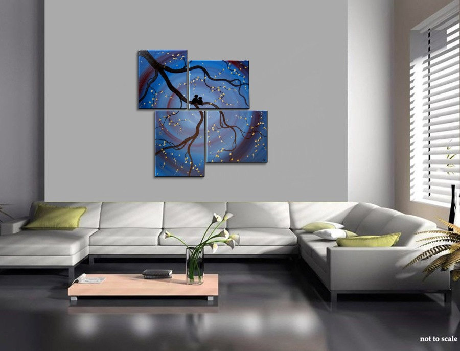 Original Painting Love Bird Wall Art Deep Blue Purple Cherry Tree Branch  With Blossoms Unique Multiple