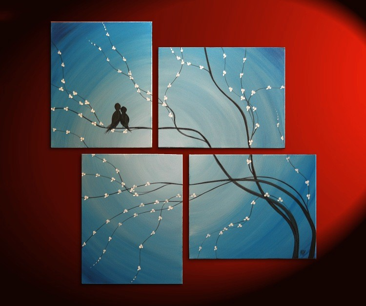 Original Painting Love Bird Wall Art Sky Blue Cherry Tree Branch with Blossoms Unique Multiple Canvases Large Custom Personalized 47x41