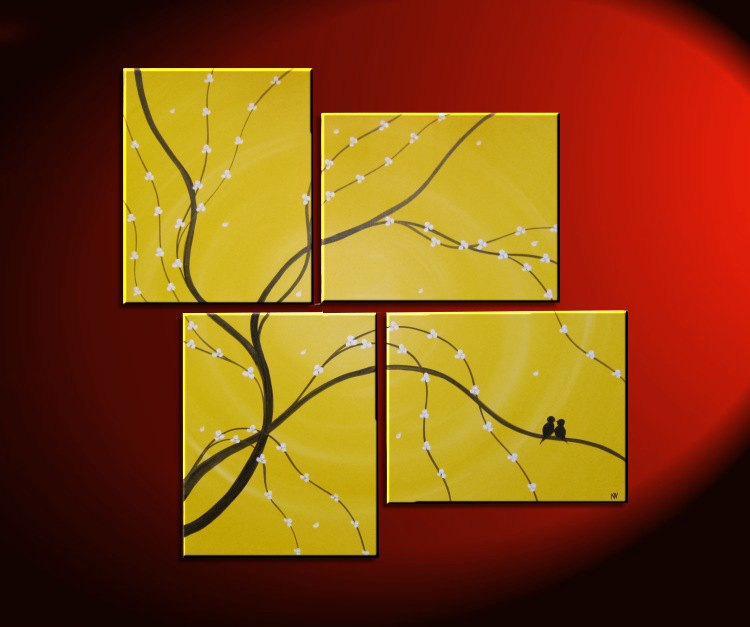 Original Painting Love Bird Wall Art Sunny Yellow Cherry Tree Branch ...