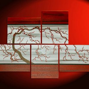 Original Plum Blossom Painting HUGE Custom Gnarly Tree Art Asian Style Modern Abstract Red and Gray Textured Large Five Canvases 56x40