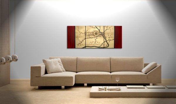 Original Zen Japanese Style Plum Blossom Painting Vibrant Modern Abstract Sunset Art Gold and Red Flowers Custom 48x20
