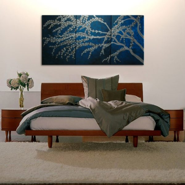 Oversized Artwork Midnight Blue and Silver Cherry Blossom Painting Zen Asian Art Peaceful Calming Flowers HUGE Custom 72x36