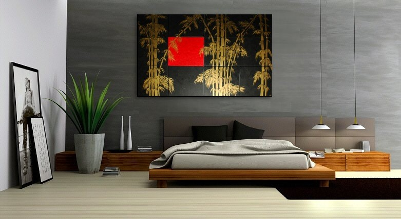 Oversized Painting Original Bamboo Art Asian Style Modern Abstract Art  Black Red U0026 Gold Large 80x48