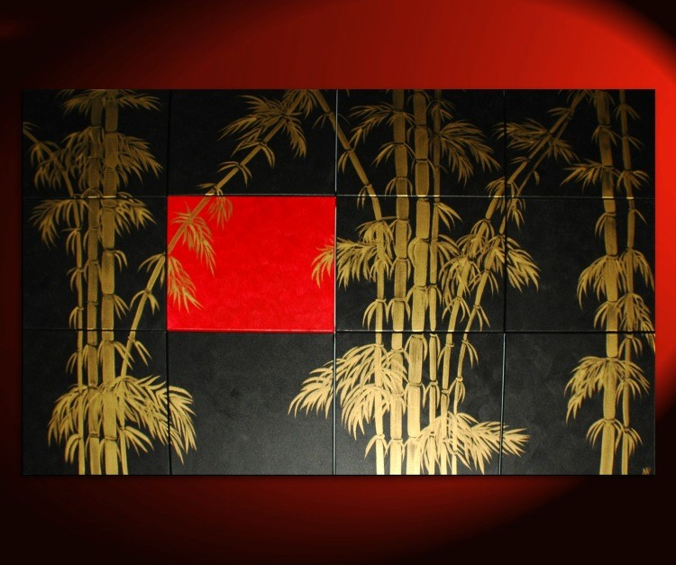 Oversized Painting Original Bamboo Art Asian Style Modern Abstract Art Black Red & Gold Large 80x48 Custom