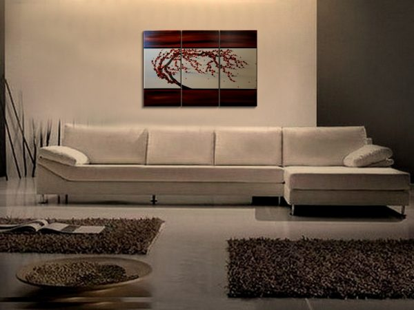 Plum Blossom Painting Custom Deep Rich Reds Textured Floral Tree Chinese Zen Style Original Art 45x30