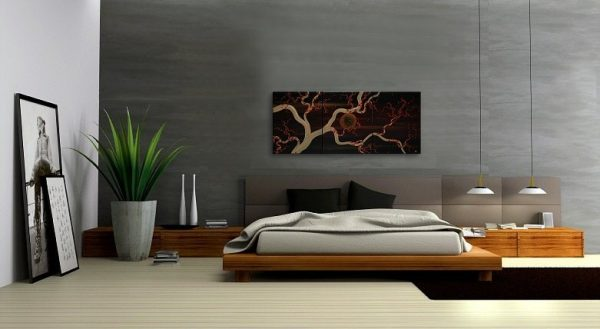 Plum Blossom Painting Original Art zen Asian style Black and Gold Midnight Calming Moon Masculine 48x20 Custom