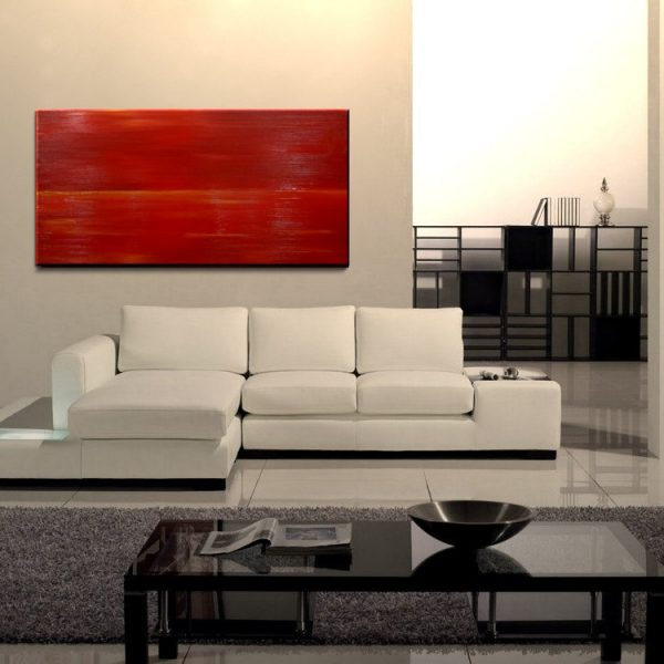 Red Abstract Seascape Art Large Ocean Painting Calm Seas Passionate Bold Crimson Wide Layout 48x24 Mails Quickly