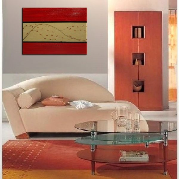 Red and Gold Cherry Blossom Painting Elegant Original Asian Style Art Traditional Colors Large 36x24 on Stretched Canvas Ready to Hang